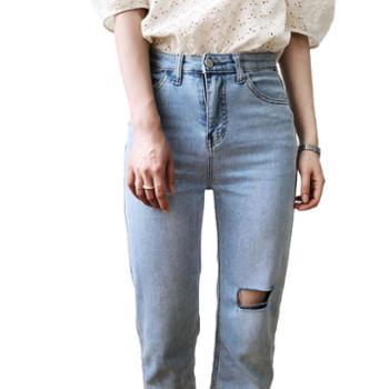 鹿西夏季高腰直筒破洞毛边牛仔裤女老爹裤子