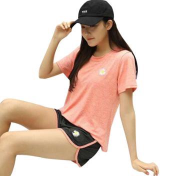 洁米夏季小雏菊速干衣套装t恤运动短裤两件套