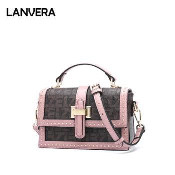 LANVERA/朗薇女士包包百搭斜挎宽肩带小方包L9065