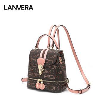 LANVERA/朗薇女士双肩包印花背包大学生书包L9028