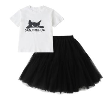 潮妮女童韩版棉T恤短袖公主纱裙中大童半身裙套装2513