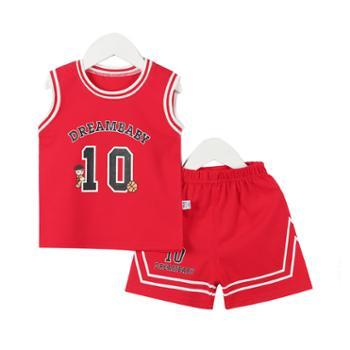 梦幻娃儿童篮球服夏季宝宝纯棉运动背心套装240