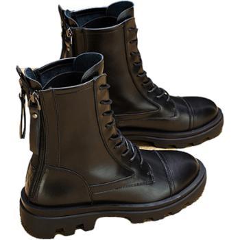 鹿季百搭真皮内增高马丁靴短靴子
