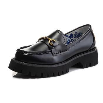 三个儿子玛丽珍鞋女秋冬季粗跟休闲乐福鞋