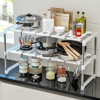 索尔诺厨房水槽置物架多功能收纳架可伸缩双层台下收纳架层架
