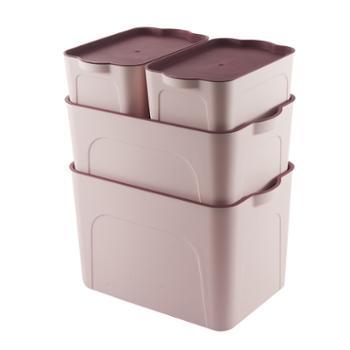 南北客家用储物箱桌面衣服玩具收纳盒四件套(豆沙色)