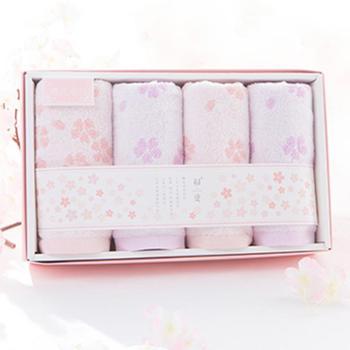 初爱樱花系列四条纯棉毛巾礼盒精装 柔软吸水儿童成人全棉毛巾