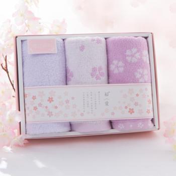 初爱纯棉毛巾两条樱花一条白云礼盒精装 柔软吸水儿童成人全棉毛巾