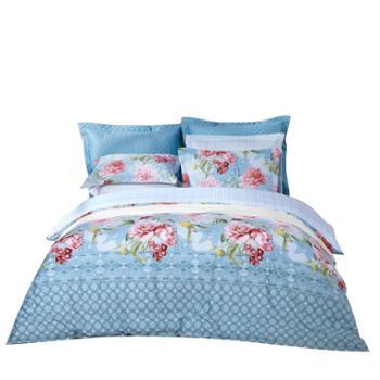 富安娜床单四件套络络晨华床上用品纯棉床品套件床单被套印花单双人