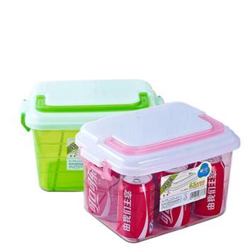 2个装茶花收纳箱塑料小号透明有盖箱子玩具收纳整理箱厨房储物箱收纳盒