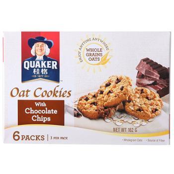 桂格 马来西亚进口代可可脂巧克力燕麦曲奇饼干 162g*2盒