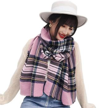 韩版新款女士围巾彩色格子褶皱两用大披肩加长保暖围脖