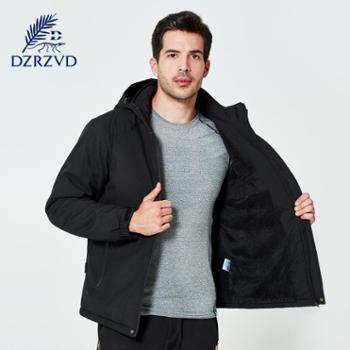 杜戛地冬季户外冲锋衣棉衣塞棉加厚大码运动棉服男装上衣外套