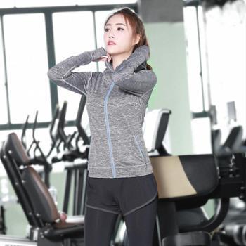 派衣阁女长袖运动套装健身服跑步套装运动裤三件套T1022