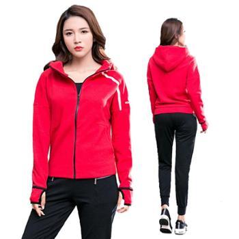 派衣阁健身服运动套装女加厚外套速干修身运动裤健身瑜伽服两件套T1059