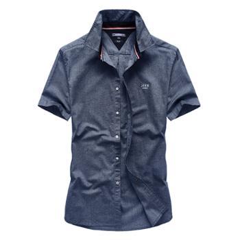 JEEP/吉普男棉休闲短袖衬衫HL-1152