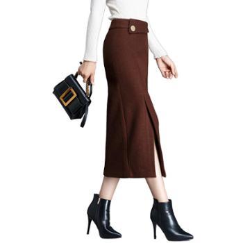 沫沫依莉秋冬半身裙时尚女装纯色简约百搭通勤舒适高腰一步裙