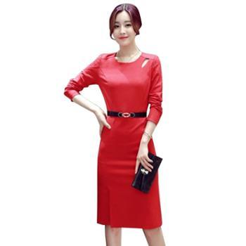 沫沫依莉时尚潮流修身简约纯色中长款连衣裙配腰带BBL068