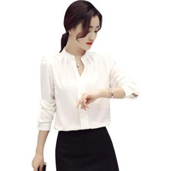 沫沫依莉2019年春季V领纯色长袖韩版修身显瘦雪纺衬衫KFG6010