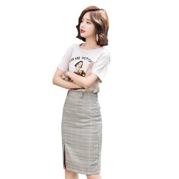 沫沫依莉套裙2019年夏季圆领短袖时尚印花韩版潮流显廋配腰带QJYG1818
