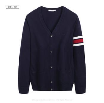 与狼共舞羊毛衫针织V领开衫男秋冬款修身韩版毛衣外套