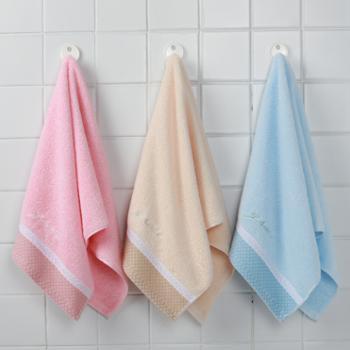 洁丽雅纯棉毛巾吸水不掉毛洗手面巾成人三条装