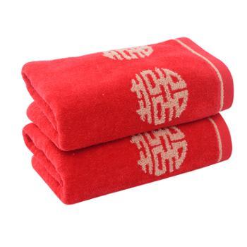 洁丽雅/grace 洗脸巾婚庆红色回礼毛巾 纯棉吸水柔软面巾