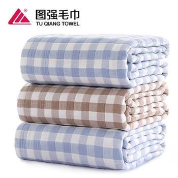 图强五层格子盖毯毛巾被150*210cm一条