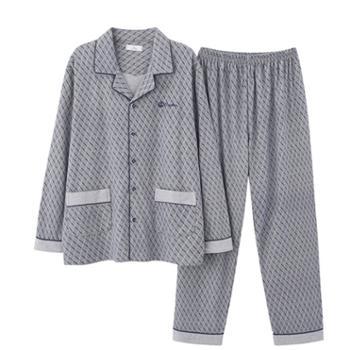 菲蜜莉纯棉睡衣男翻领开衫条纹印花简约休闲青年家居服套装