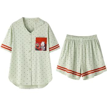 青年里 卡通兔子开衫短袖可外穿家居服套装 纯棉