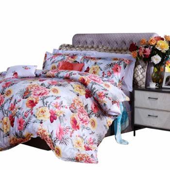 富安娜 床单四件套 晨汐风吟 加厚磨毛印花