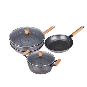 火象 麦饭石原木五件套锅具