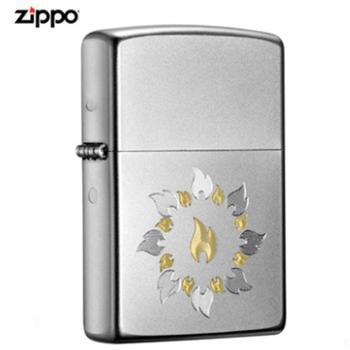 ZIPPO金银火圈子-缎纱镀铬,激光刻21192