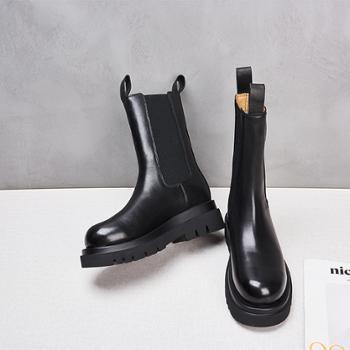 yolandazula真皮女切尔西靴2020新款厚底增高