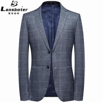 LANSBOTER/莱诗伯特春季新男式休闲西装韩版青年修身小西装格纹西服外套男装单西