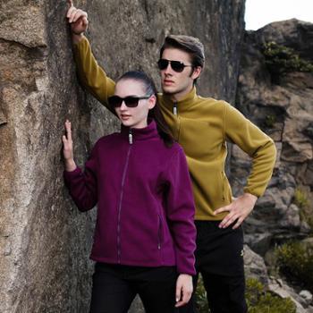 秋冬户外抓绒衣裤男式加厚开衫卫衣女保暖摇粒绒运动外套