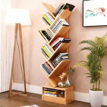 原木书房书架落地创意书架树形书柜个性置物架创意格子柜客厅储物架卧室书架七层