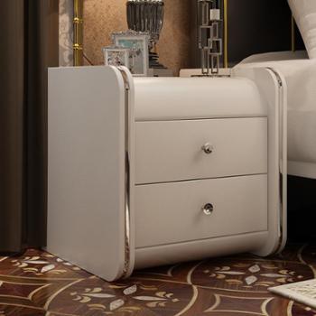 良木卧室床头柜皮质床头柜简约北欧风床头柜现代欧式边几卧室储物柜床边小柜