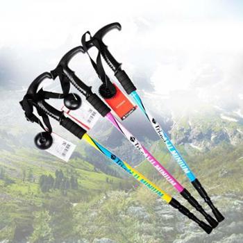 tripolar新户外登山杖铝合金杖身轻便三节伸缩T型手杖野营装备徒步手杖拐杖