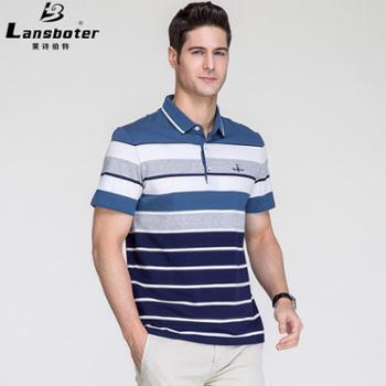 莱诗伯特男士短袖t恤色织条纹翻领百搭中青年丝光体恤衫