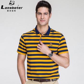 莱诗伯特男士短袖t恤纯棉色织条纹翻领中青年丝光体恤