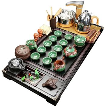 功夫茶具套装办公室家用简约整套陶瓷实木全自动一体小茶盘喝茶道