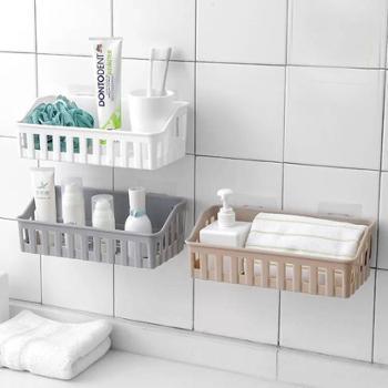免打孔浴室置物架卫生间用品厕所塑料壁挂架子收纳洗漱架4个装