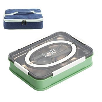 婴侍卫不锈钢分格手提餐盒套装1000ml带保温袋2523A-1