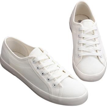 万里健女平跟系带帆布鞋