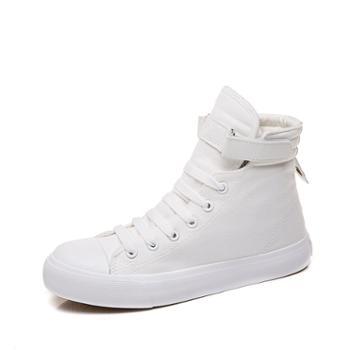万里健高帮帆布女鞋魔术贴运动小白鞋