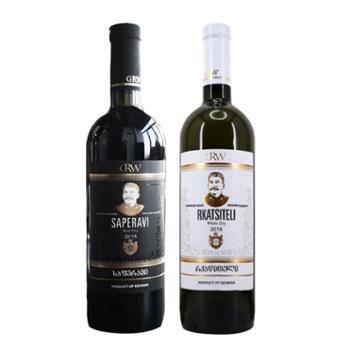格鲁吉亚皇家酒庄萨别拉维干红+卡斯泰利干白葡萄酒750ml*2