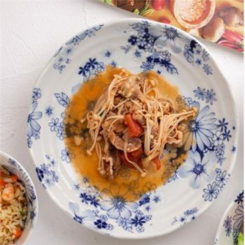美浓烧日式简约家用轻复古陶瓷圆盘鱼盘8.5英寸早餐盘子