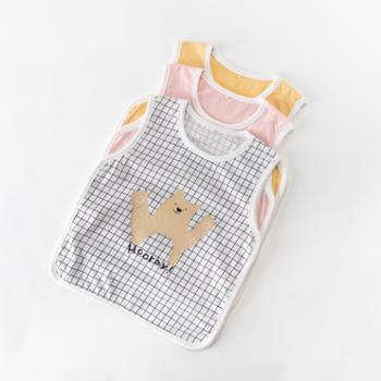 威尔贝鲁儿童纯棉背心宝宝薄款护肚夏季婴儿内穿