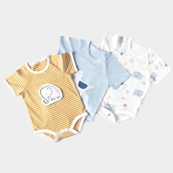 威尔贝鲁婴儿连体衣哈衣爬服宝宝衣服纯棉夏薄款